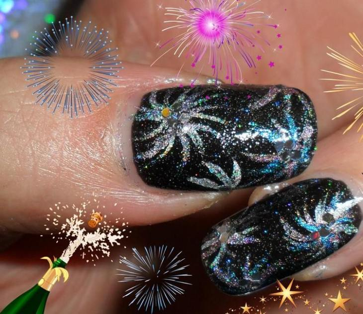 tuto nail art –nouvel-an-vernis-ongles-noir-motif-feux-artifice