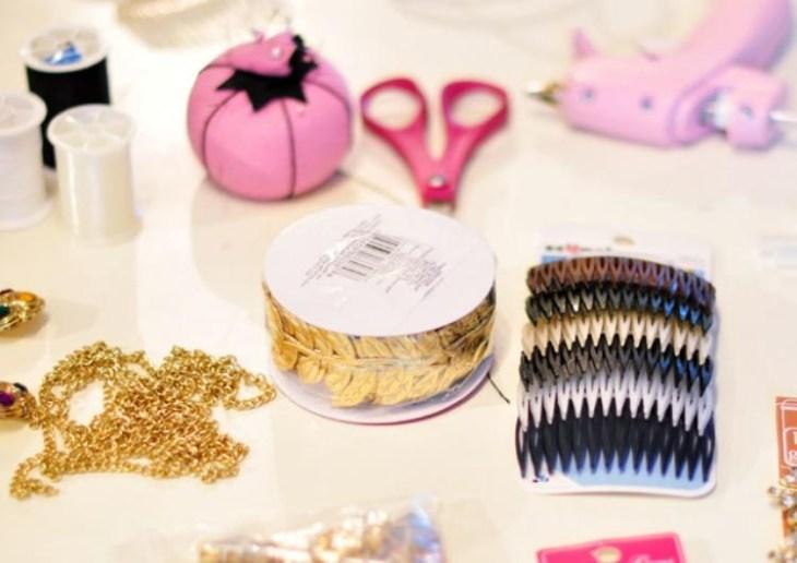 accessoire pour cheveux -peigne-cheveux-diy-materiel-guirlande-doreee-chaine