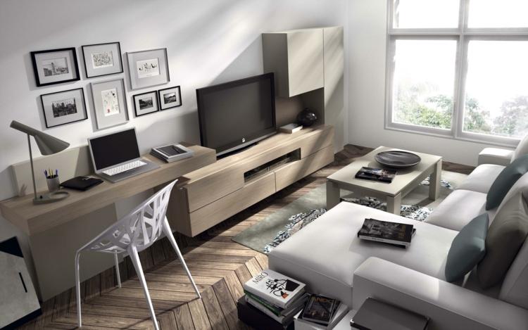 amenagement de bureau moderne dans un salon contemporain en 16 idees top