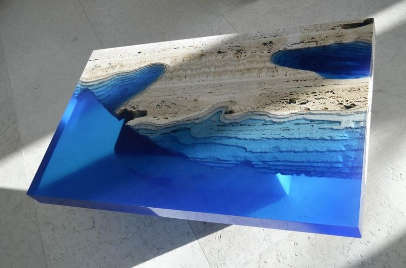 Tables Basses Design En Travertin Et Rsine Bleue Les Lagoons
