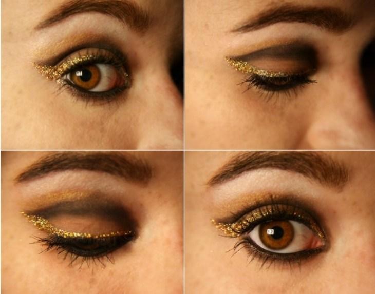 comment-se-maquiller-petits-yeux-crayon-noir-fard-pailleté-doré