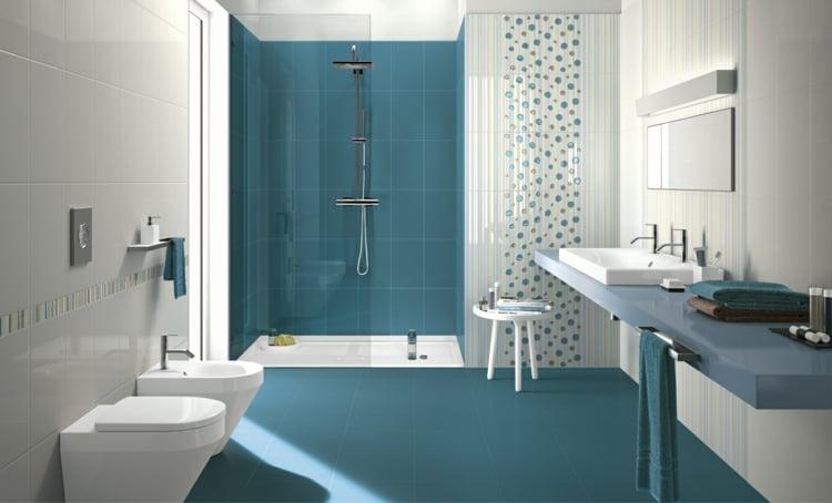 carrelage salle de bain bleu idees