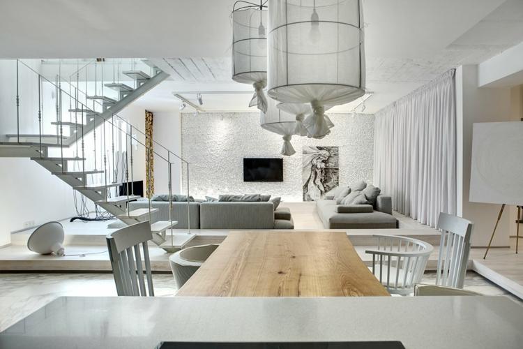 interieur blanc et gris moderne decore