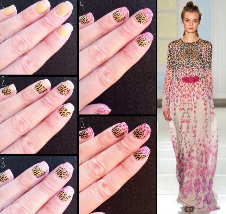 manucure-rose-motif-léopard-inspirée-robe-motifs