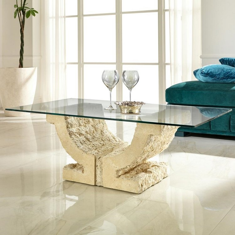 table basse en pierre naturelle fossilisee 15 propositions modernes