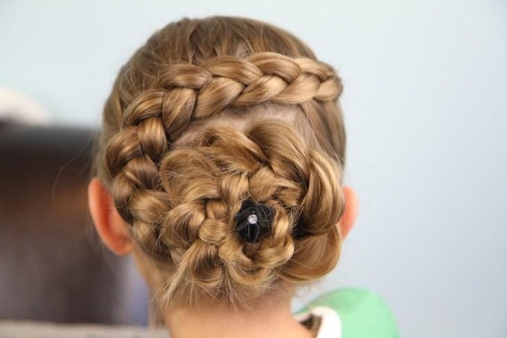 coiffure pour petite fille -chignon-tressé-forme-fleur-épingle-chignon