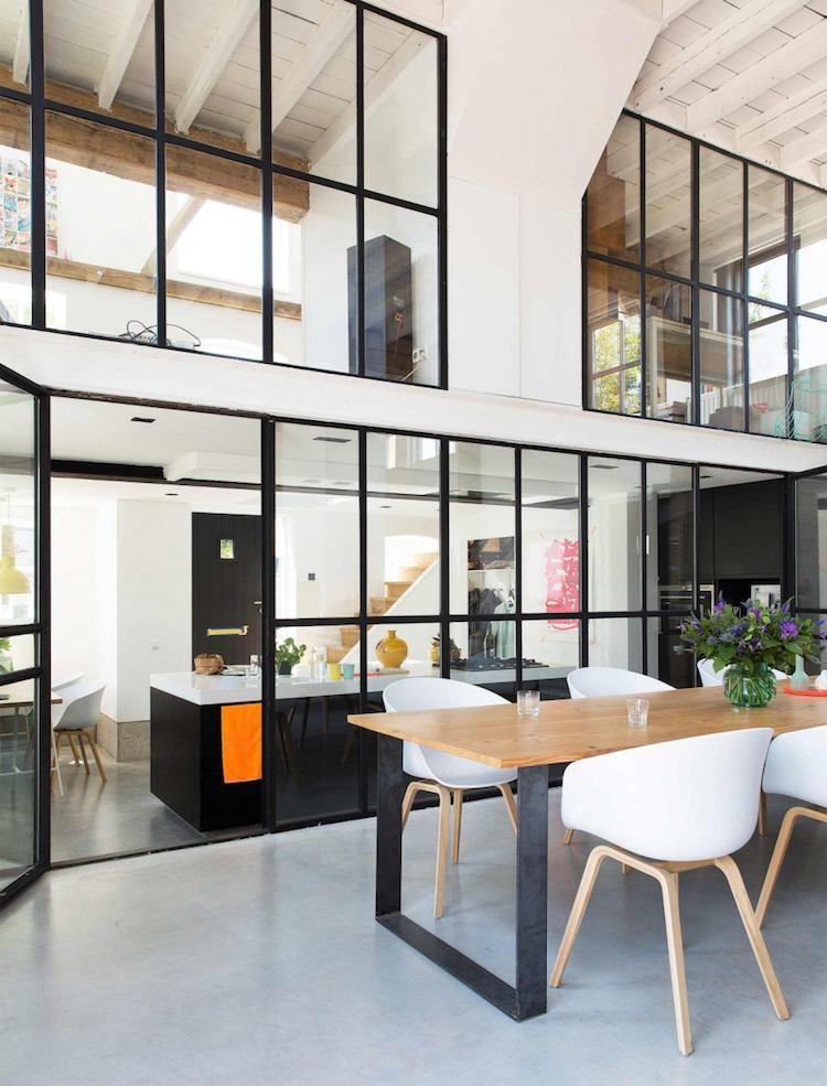 cuisine avec verriere interieure style atelier separation cuisine cuisine avec verriere interieure pour restructurer l espace