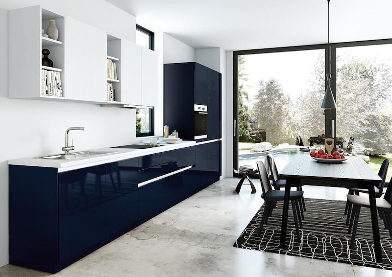 cuisine bleu gris canard ou bleu