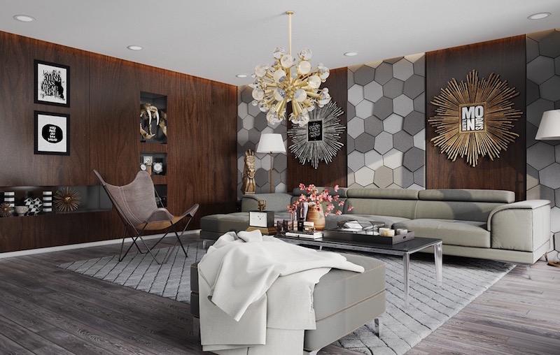 mur interieur salon contemporain