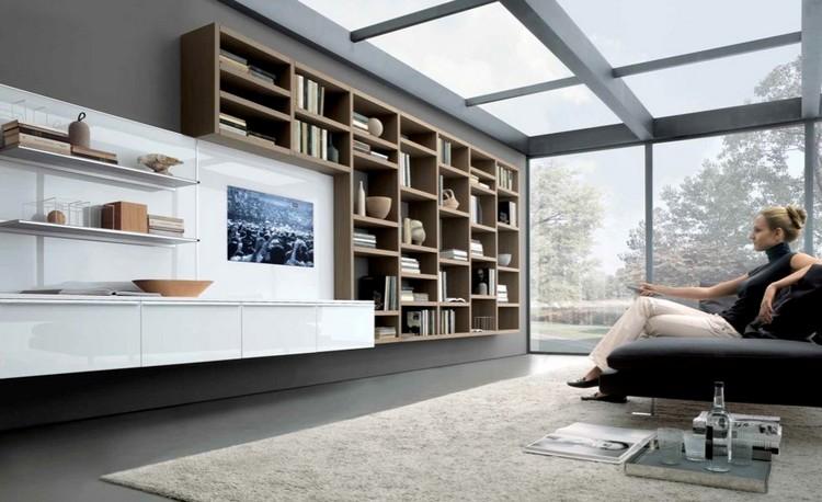 meuble tv bibliotheque bois massif blanc laque tapis meuble tv bibliotheque en 40 idees pour organiser le rangement de facon optimale