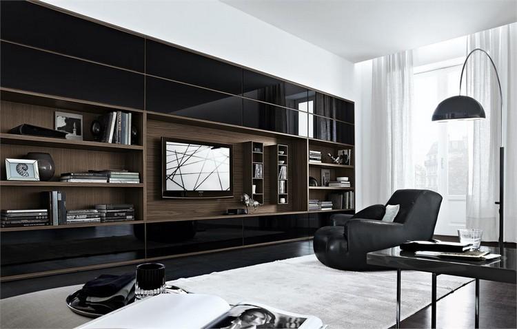 meuble tv bibliotheque bois massif fauteuil noir tapis meuble tv bibliotheque en 40 idees pour organiser le rangement de facon optimale