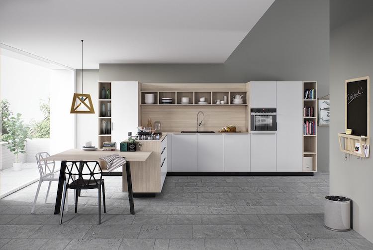 cuisine blanche et bois en 20 variantes