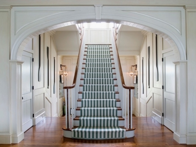 25 Ideas For Stair Runners A Functional Necessity For The Home   White Stairs With Grey Carpet   Top   Laminate Flooring Carpet   White Staircase   Grey Stripe   Dark Grey