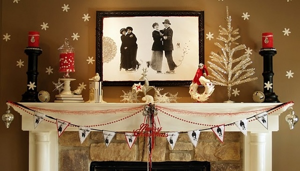 Christmas mantel decor ideas   festive colors and joyful mood elegant mantel decoration christmas decorating ideas fireplace decor Christmas  mantel decor ideas     festive colors and joyful mood