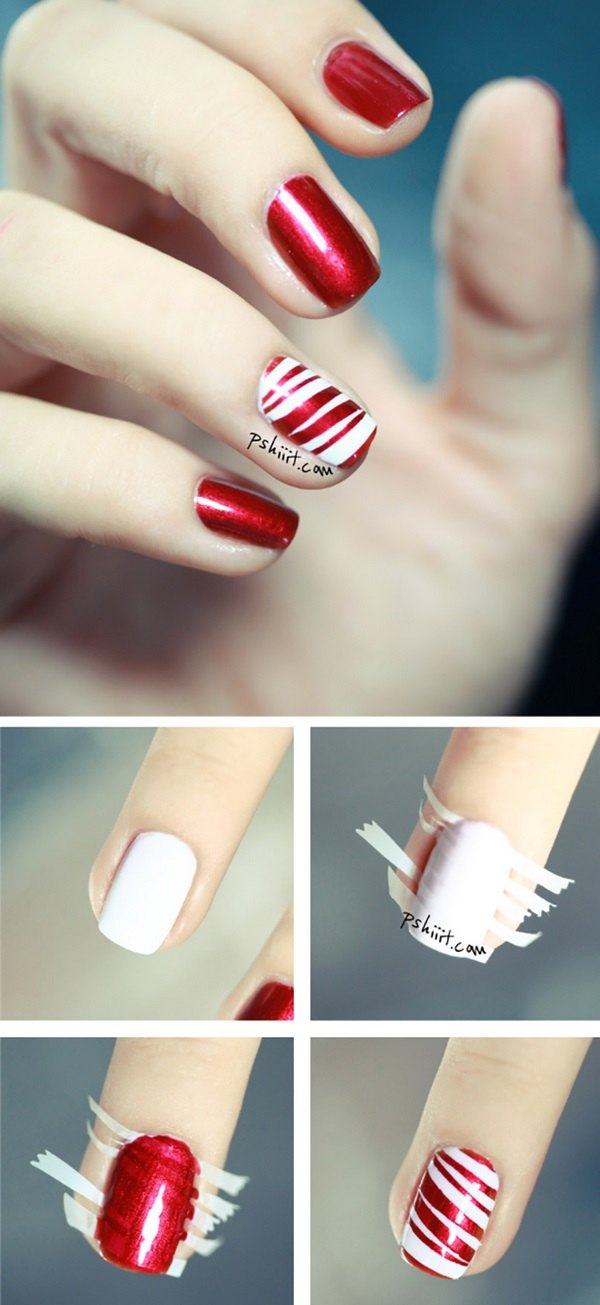 Christmas Nail Design Candy Cane Peppermint Nails Step By Easy Ideas