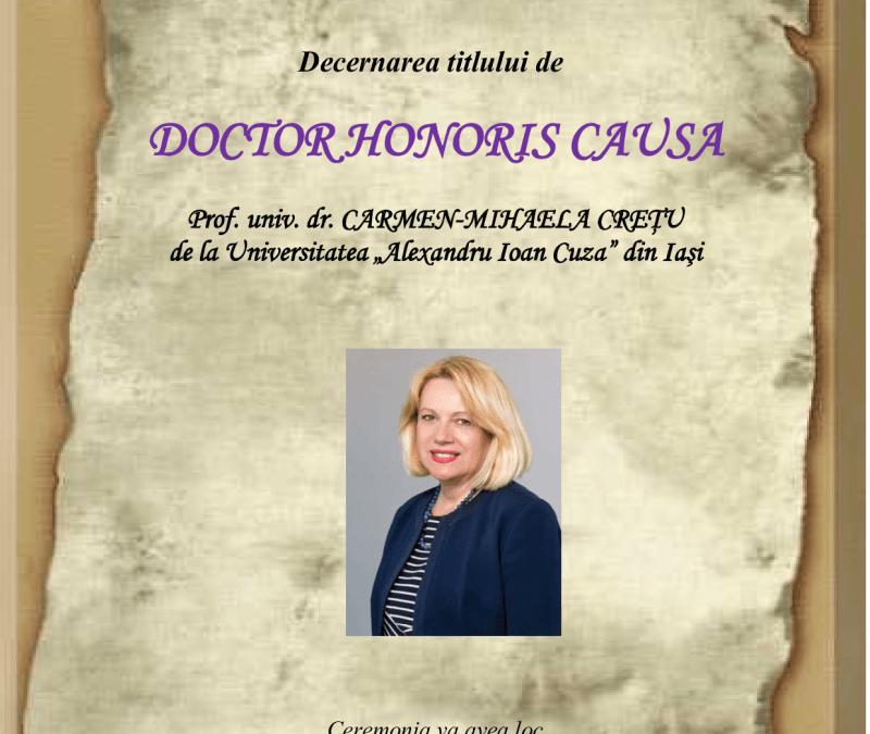 """S-a decernat titlul de ,,Doctor Honoris Causa"""" doamnei Prof. univ. dr. Carmen-Mihaela Crețu"""