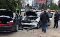 Accident între un BMW și o mașină a Poliției, la Timișoara
