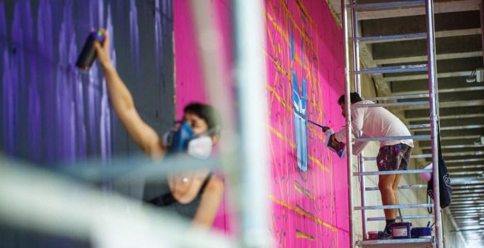 Tunelul auto din ansamblul Iulius Town devine galerie de artă stradală