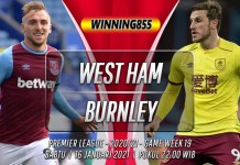 Prediksi West Ham vs Burnley 16 Januari 2021