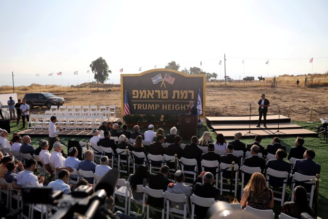 Israeli Prime Minister Benjamin Netanyahu speaks during a ceremony to unveil a sign for a new community named after U.S. President Donald Trump, in the Israeli-occupied Golan Heights, June 16, 2019.