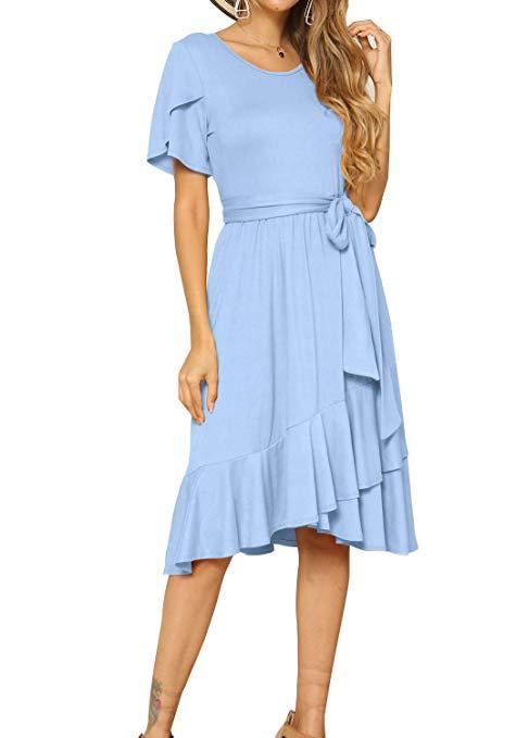 Vestido azul casual para damas