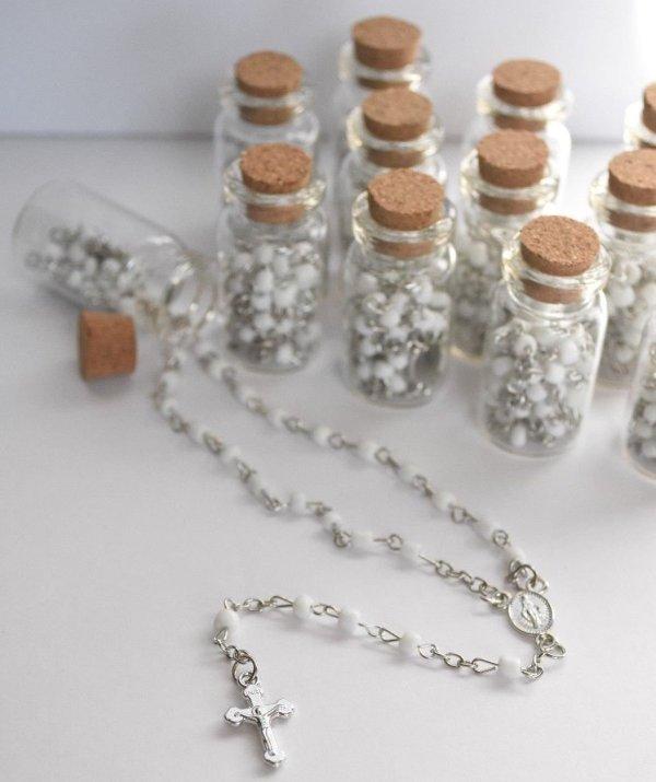 Rosarios en botella recuerdo bautizos