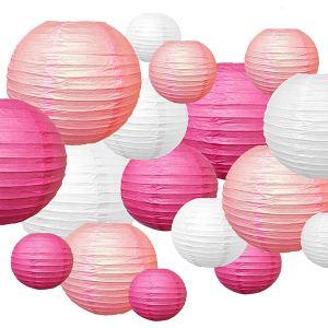 lamparas de papel rosa y blanco