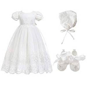 Vestido bordado floral para niñas bautizo