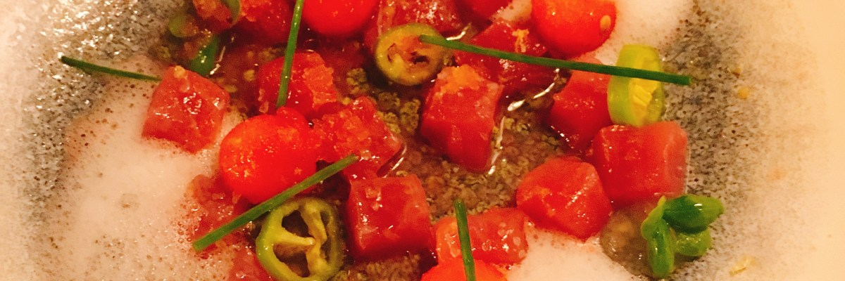 Red Tuna Tartare Watermelon Meat Kitchen kosher Tel aviv