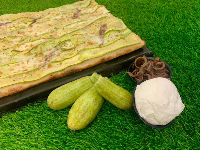 Pakino Pizza - Mehadrin - Jerusalem - Rome Style - Zucchini & Anchovy Pizza