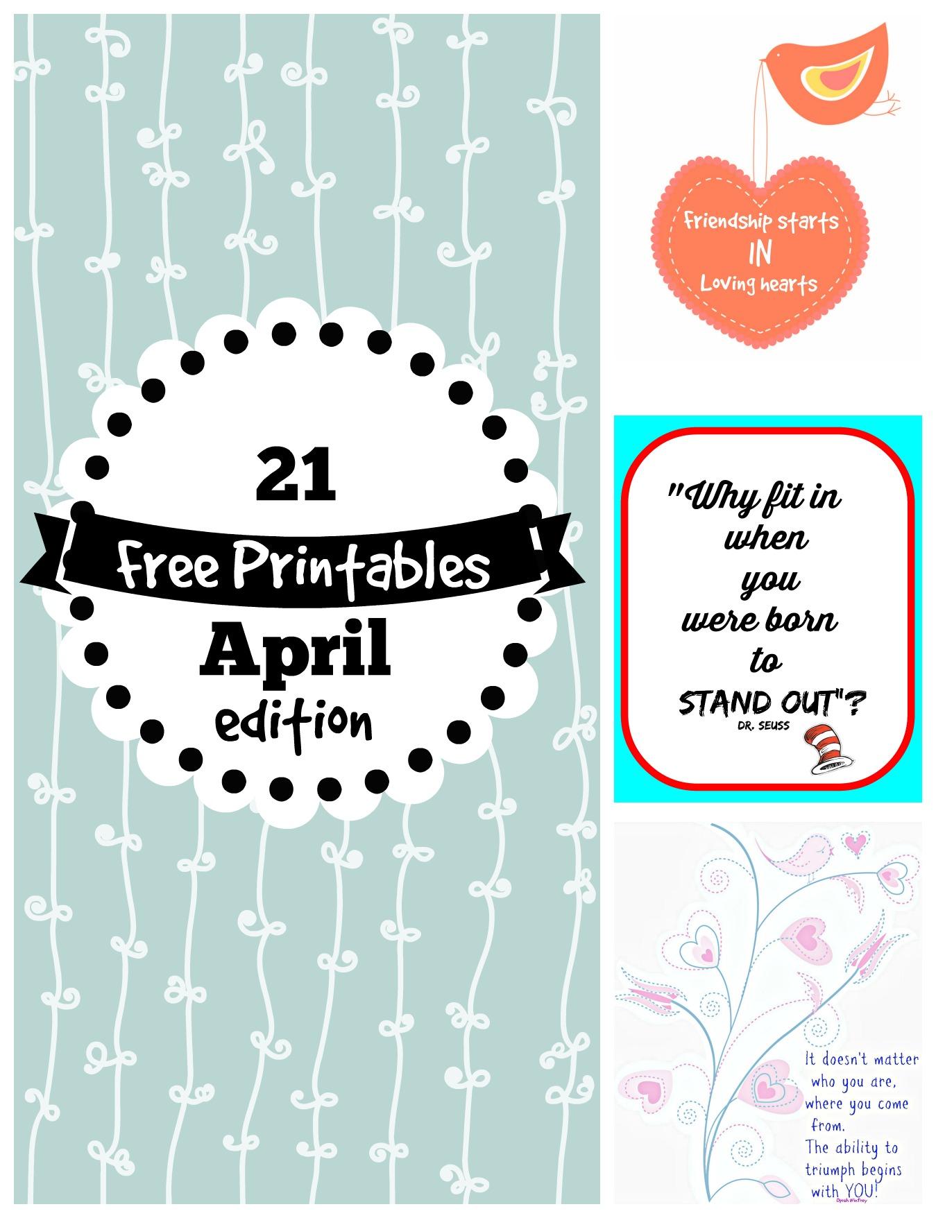 Free Printables For April