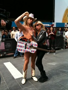 Deb and the Naked Cowboy in Times Square