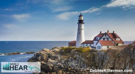 Portland head lighthouse off the coast of Maine, USA