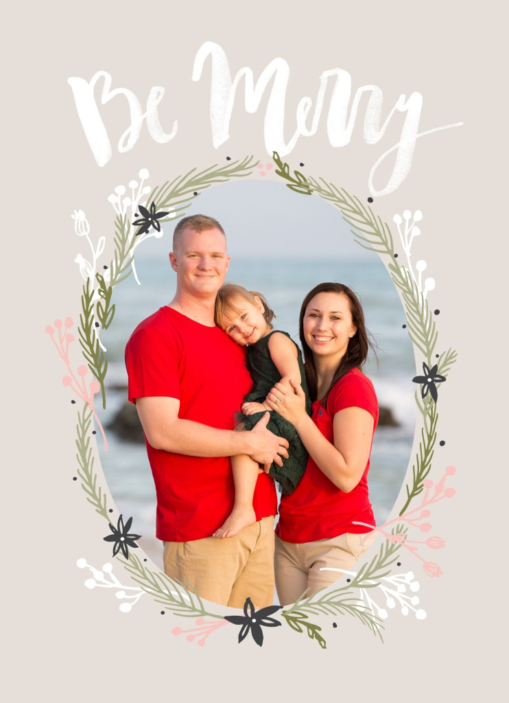 Christmas card with family on it