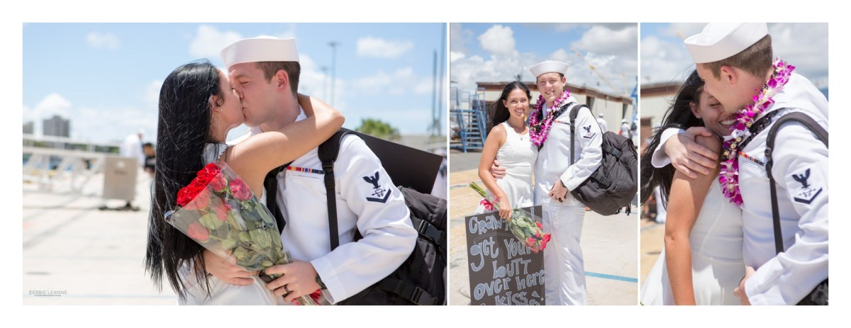Sailor and wife kissing on dock after deployment