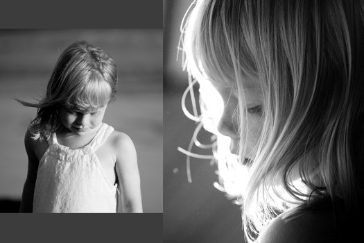 black and white, backlight, portrait, child