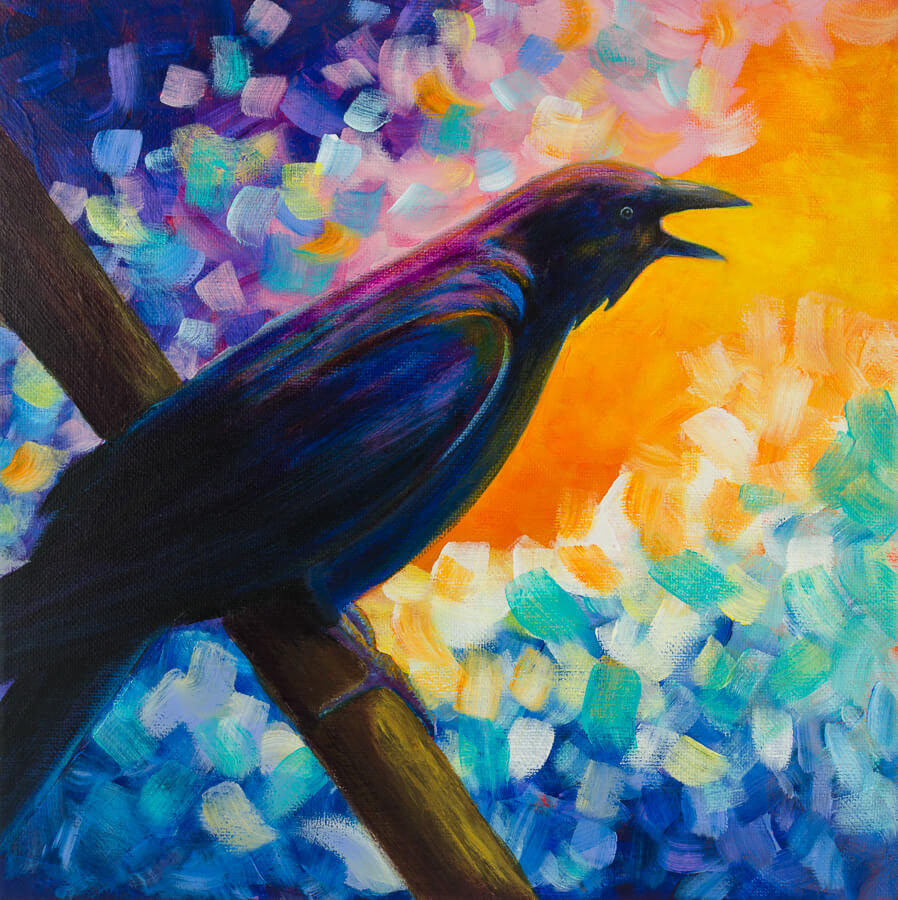 crow abstract painting
