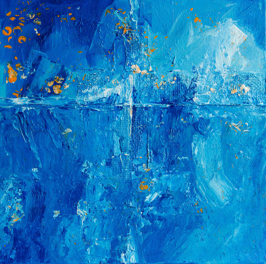 Melting Glaciers Blue Abstract Painting by Deb Breton