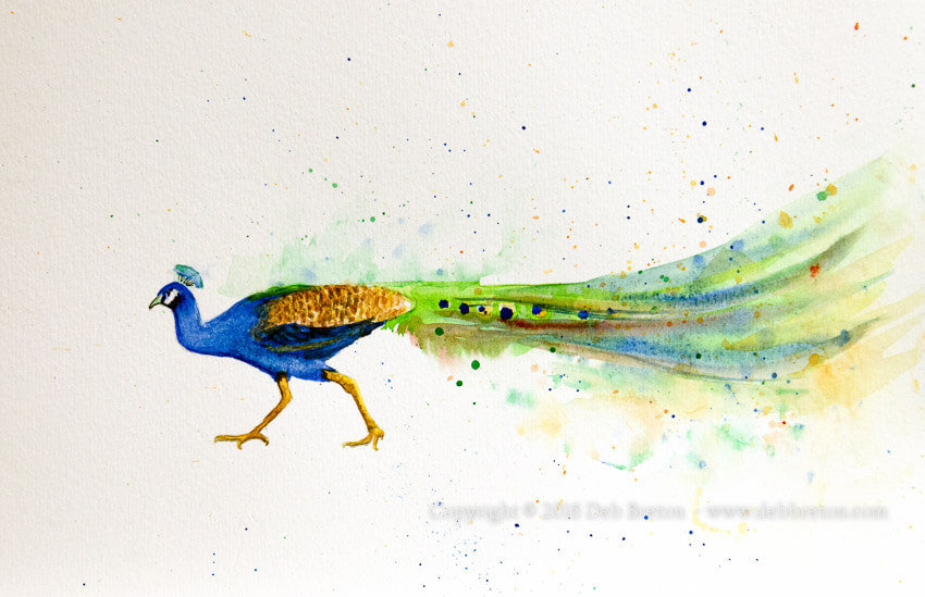 peacock art splash painting by deb breton