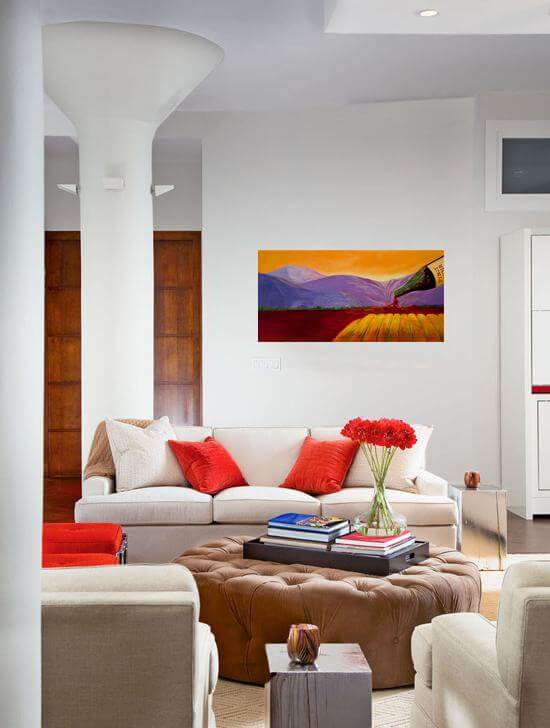 Beautiful painting The Rushin' River in a living room setting