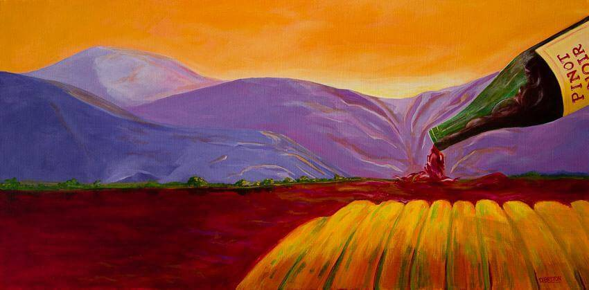 The Rushin' River - by contemporary wine artist Deb Breton. Wrapped stretched canvas measures 18H x 36W.