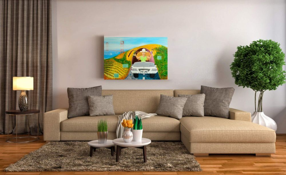 Pop art painting of blonde with red wine in a limo - hanging wall art in living room