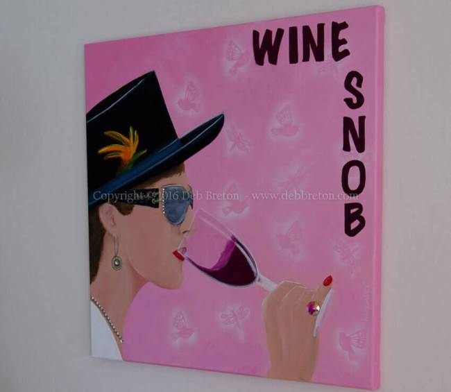 Wine Snob original pop art painting hanging on the wall, side are painted
