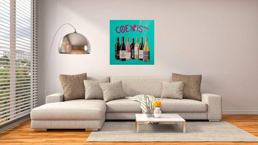 COEXIST Painting hanging in living room