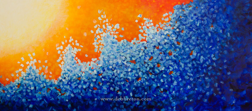 "Large 36 x 80 commissioned painting, titled ""Infinite Motion"" by Deb Breton. It's perfect for a seaside home!"