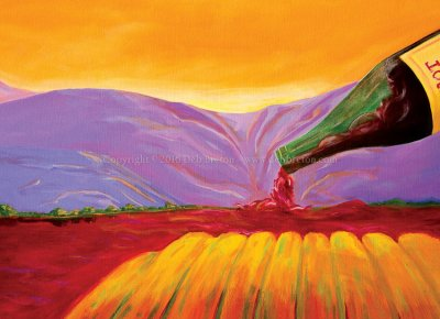 wine art paintings of california vineyards