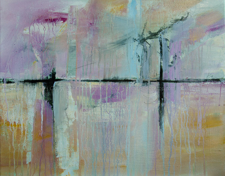 """ROAD TRIP! by Deb Breton 16"""" x 20"""" x .75"""" (41 x 51 cm) Acrylic on stretched canvas $250. Expressive and gestural abstract painting. Pastel blue, purple, sand and light green. Painted closely to Pantone's 2018 Verdure color palette."""