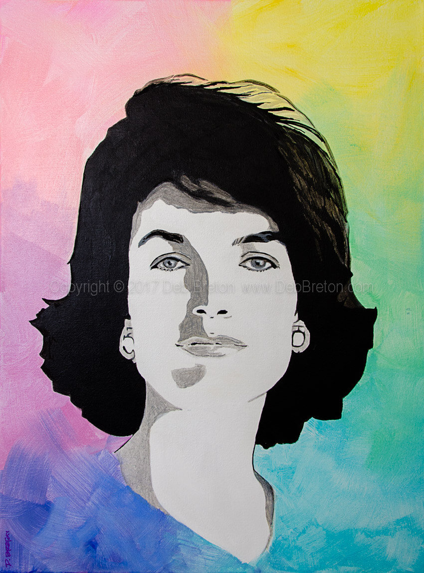 Jackie Kennedy - Acrylic on 24 x 18 stretched canvas by Deb Breton