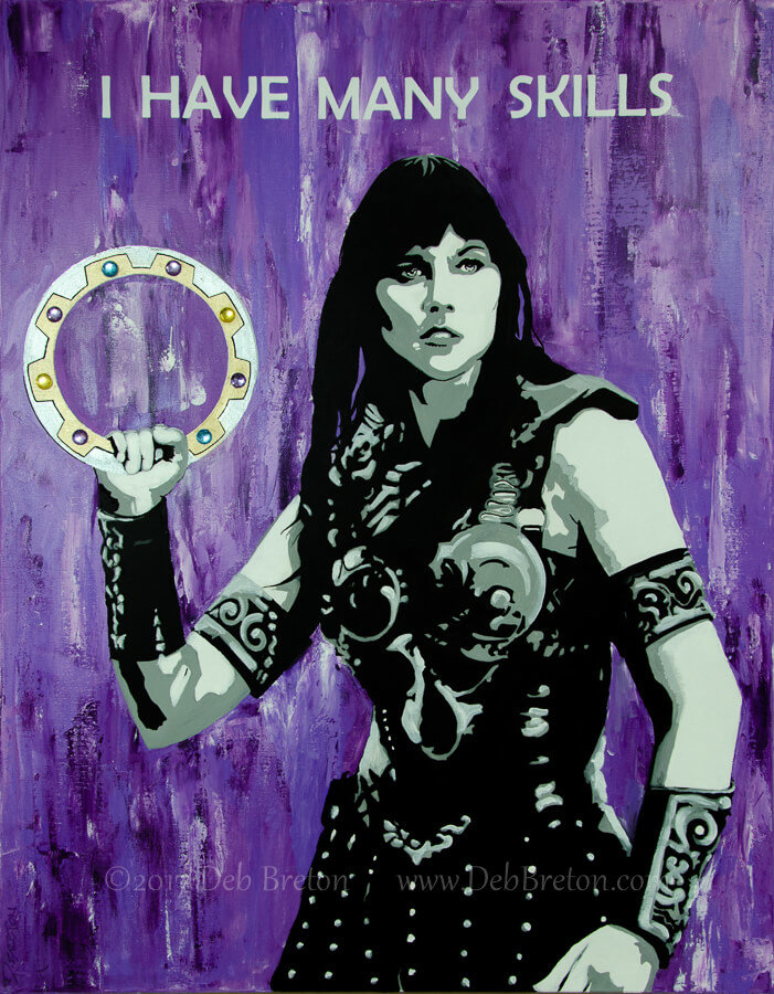 xena warrior princess painting by Deb Breton