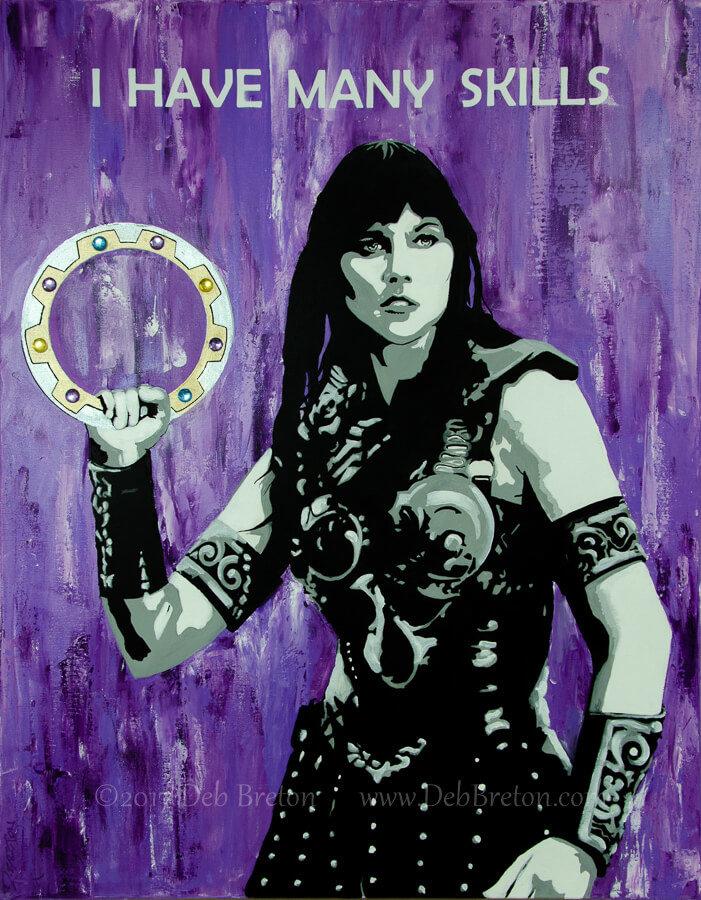xena warrior princess painting by Deb Breton